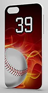 Flaming Baseball Sports Fan Player Number 39 White Rubber Decorative iphone 5s Case