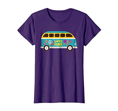 Womens Vintage Retro 60s Hippie Love Peace Van Life T-Shirt & Gift Large Purple