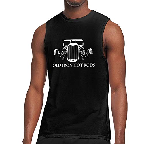 - Hot Rod Racer Men's Graphic Printed Classic Muscle Sleeveless Gym Workout T-Shirt Black