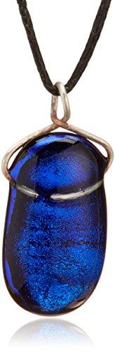 Fusion in Glass Blue Metallic Medium Pendant - Beautiful Handmade Dichroic Glass Pendant