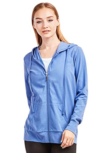 Sofra Women's Thin Cotton Zip Up Hoodie Jacket