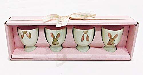 Rae Dunn Magenta Easter Bunny Ceramic Egg Cups//Holders Set of 4 in Easter Gift Box