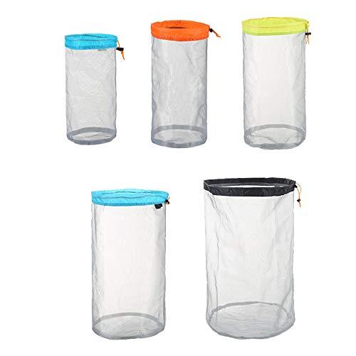 Stuff Sack Set of 5 Lightweight Nylon Mesh Drawstring Storage Bag for Travelling Hiking Camping