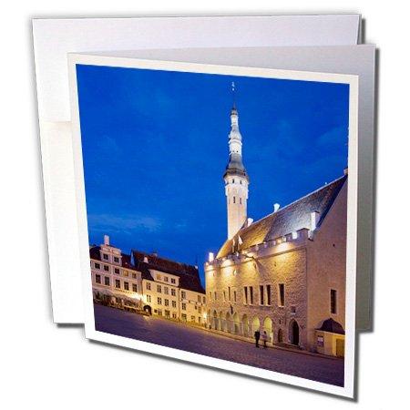 3dRose Danita Delimont - Estonia - Estonia, Tallinn. Church and town plaza. - 6 Greeting Cards with envelopes - Town Plaza