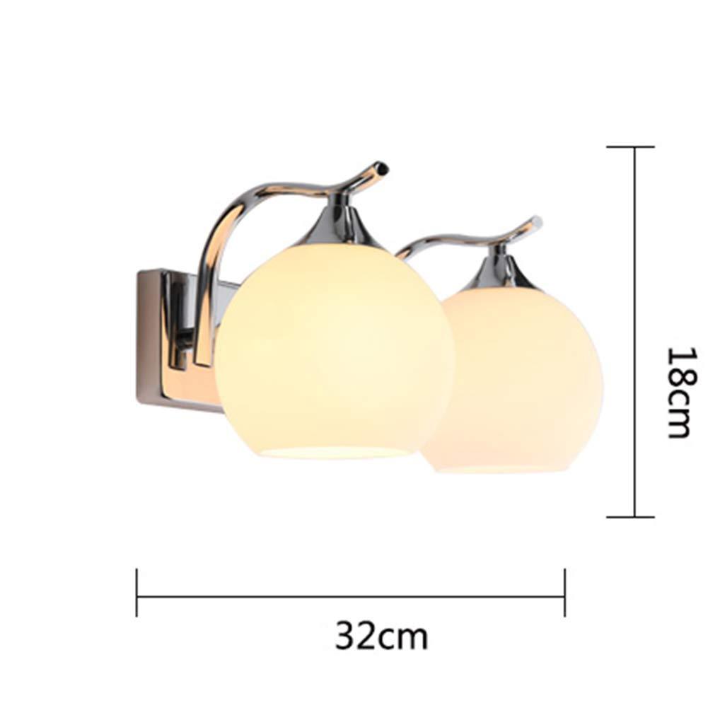 HUAMU-WALL LAMP LED-Runde Standardwandleuchte, Einzelner Kopf, Doppelter Kopf, Lampenschirm Aus Glas, Kompatibel Mit Wohn Schlafzimmer   Flur Restaurant,Double