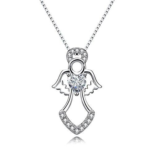 (MORANY 925 Sterling Silver Guardian Angel Pendants Necklace Girls Women's Jewelry, 18 inch / 45 cm)