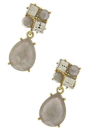 TRENDY FASHION JEWELRY CRYSTAL AND TEARDROP JEWEL EARRINGS BY FASHION DESTINATION | (Gray) (Hoop Trifari Small Gold)