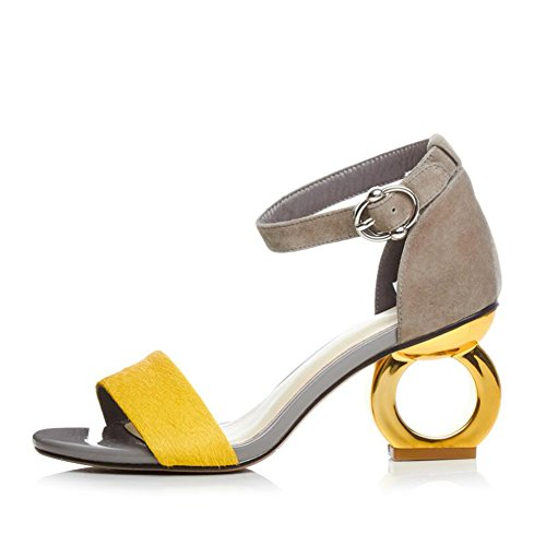 Size for Color A Women's Yellow Toe Suede Shoes Sandals New Heterotypic 35 Color 2018 Buckle Heel Screen Black Spring Open Summer H7gHUqxa