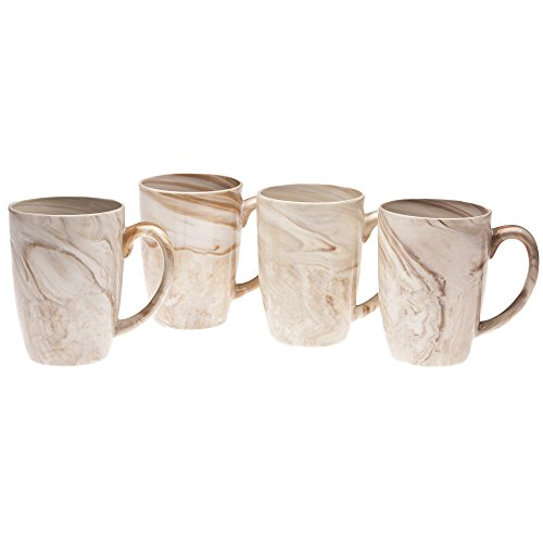 Culver 16-Ounce Palermo Ceramic Mug Set of 4 (Brown Marble)