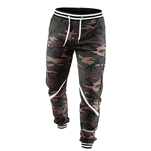 Forthery Jogger Pants, Mens Casual Biker Slim Fit Casual Active Elastic Trousers (Camouflage, US XL = Asia 2XL) Viking Straight Spring