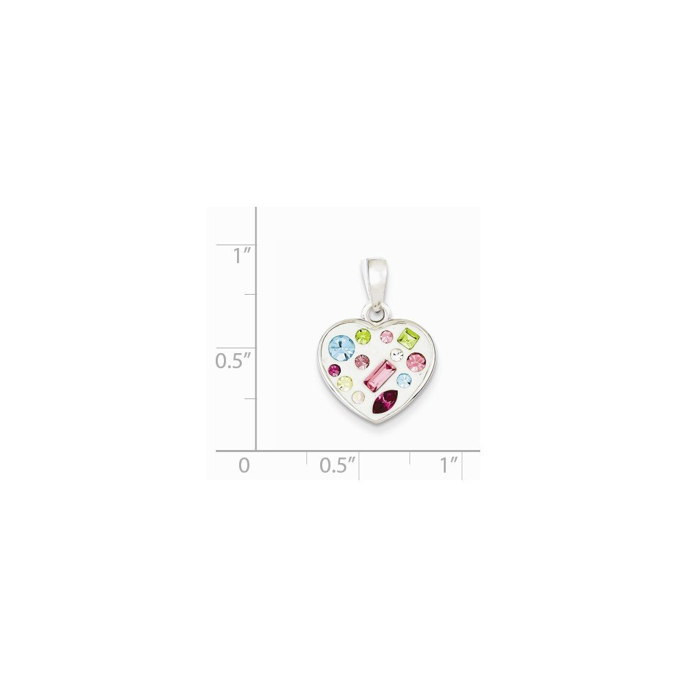 925 Sterling Silver Rhodium Plated Simulated Crystal Heart Love Pendant 15 x 15