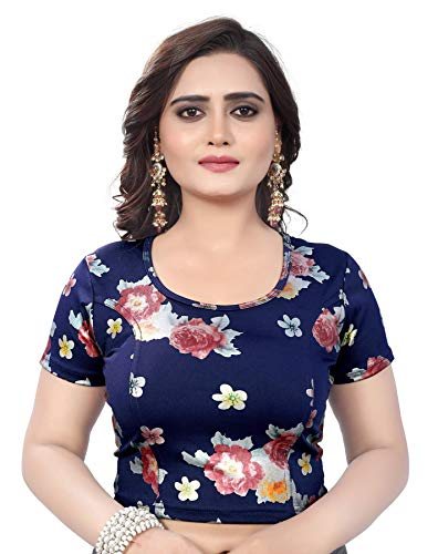 Indian Ethnic Design Stretchable Cotton Lycra Blouse Navy Blue Tops Readymade Saree Blouses Short Sleeve Crop Top