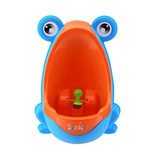 Cute Frog Boys Potty Toilet Trainning for Boys Pee Trainer Bathroom Children Uninal with Whirling Target (Blue) ()