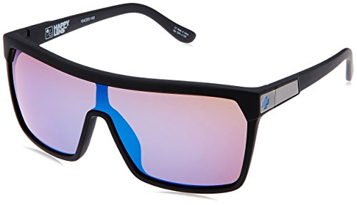 Spy Optic Flynn 670323973317 Wrap Sunglasses, 1.5 mm (Soft Matte Black/Happy Bronze/Dark Blue - Spy Cheap Sunglasses