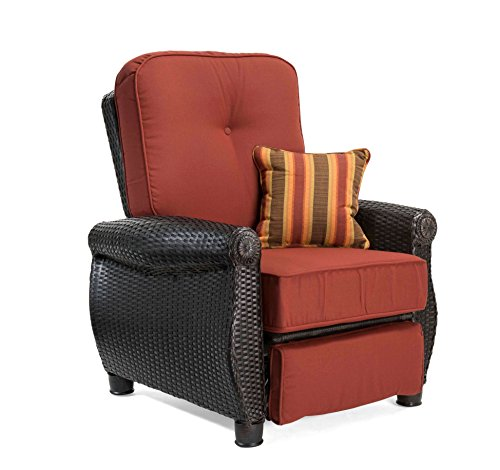 La-Z-Boy Outdoor Breckenridge Resin Wicker Patio Furniture Recliner (Brick Red) with All Weather Sunbrella Cushions