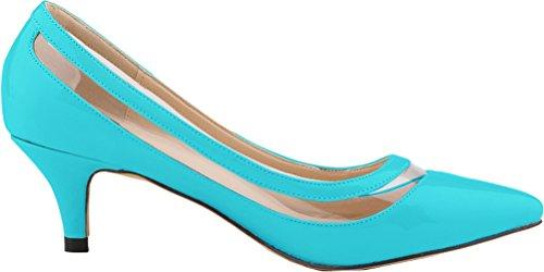 Salabobo Womens Comfort Wedding Character OL Work Dress Pionted-toe Kitten Heel PU Pumps Blue o5joLSr17