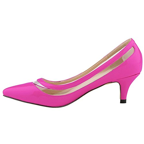 Low Heels for Women,MERUMOTE Pointed Toe Middle Heels Shoes for Daily Work Pumps Purple-Patent