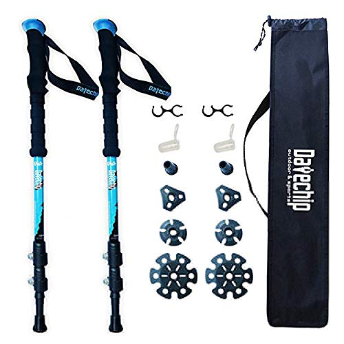 Datechip Trekking Poles, Walking Sticks Collapsible, Lightweight, Shock-Absorbent, 100% Carbon Fiber Hiking Sticks with Flip Lock and Carry Bag for Outdoor Adventure, Walking, Snow, 2 Pack