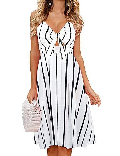FANCYINN Womens Striped Dresses Tie Front Button Down Spaghetti Strap Midi Dress Stripe XL