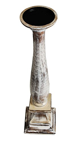 Elegant Wooden Tabletop Pillar Candle Holder Rustic Finish Home Lightning Décor Ideas Distressed Centerpiece Mantle Party Tea Light Stand