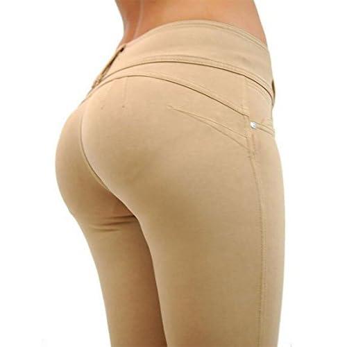 Fulok Women's Butt Lift Mid Rise Skinny Stretch Tights Pencil Pants