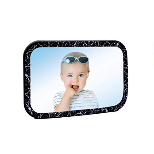 Auto Back Seat Mirror - With Full Printing Swirly Pattern Printing Makes Travel Fun - Baby Car Mirror for Back Seat View Rear Facing Infant in Backseat Convex Mirror for ()