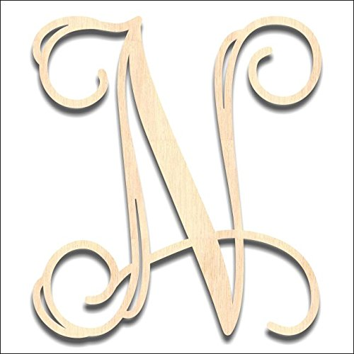 Back40Life - Precision Cut Vine Wood Monogram Letter - 6-inch Unfinished -
