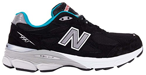 (New Balance Men's M990 Version 3 Running Shoe, Size: 8 Width: D Color: Black/Blue Atoll)