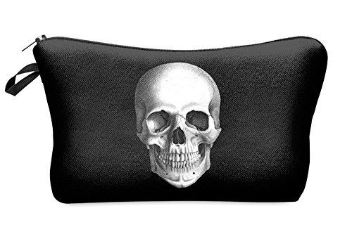 Skull Black and White Cosmetic Bag Organizer by DAISY BAY (Daisy Bay)