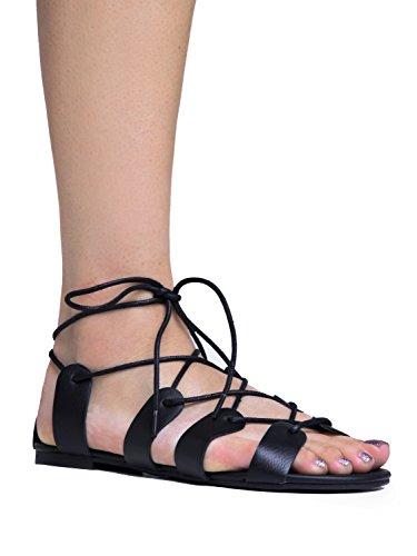 Breckelles Lace Up Ankle Tie Flat Gladiator Sandal,7 B(M) - Tie Ankle Flat Sandal