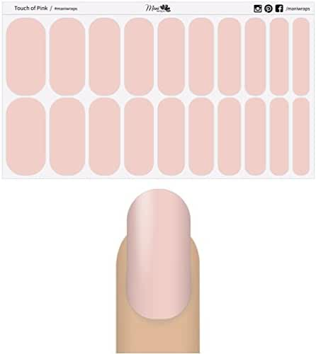 Mani Wraps Salon Quality Nail Wraps - Simply Solids (Touch of Pink)
