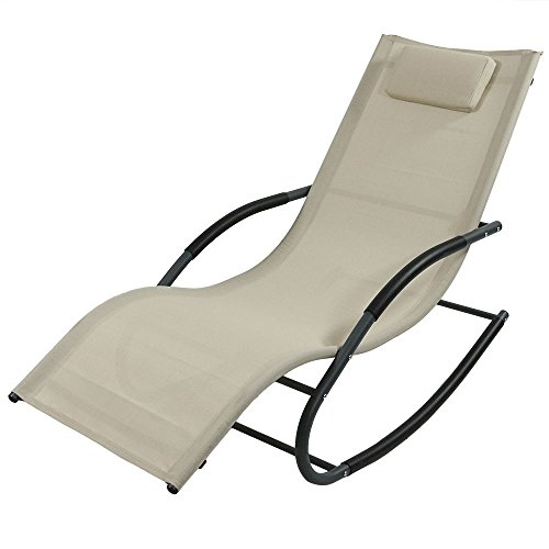 Sunnydaze Outdoor Rocking Wave Lounger with Pillow, Patio and Lawn Lounge Chair Rocker, Beige