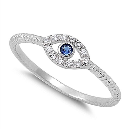 (Evil Eye Blue Simulated Sapphire Polished Ring New .925 Sterling Silver Band Size 8)