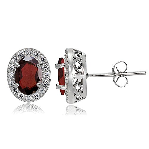 Sterling Silver Garnet and White Topaz Oval Halo Stud Earrings 14k Garnet Heart Earrings