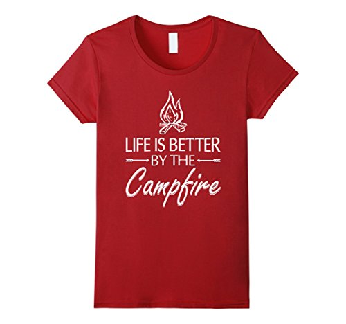 Women's Life is Better by the Campfire Camping T-shirt Sm...