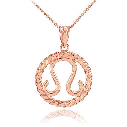 Collier Femme Pendentif 14 Ct Or Rose Lion Zodiaque Signe À Cercle Corde (Livré avec une 45cm Chaîne)