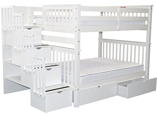 Bedz King Stairway Bunk Beds Full over Full with 4 Drawers in the Steps and 2 Under Bed Drawers, White