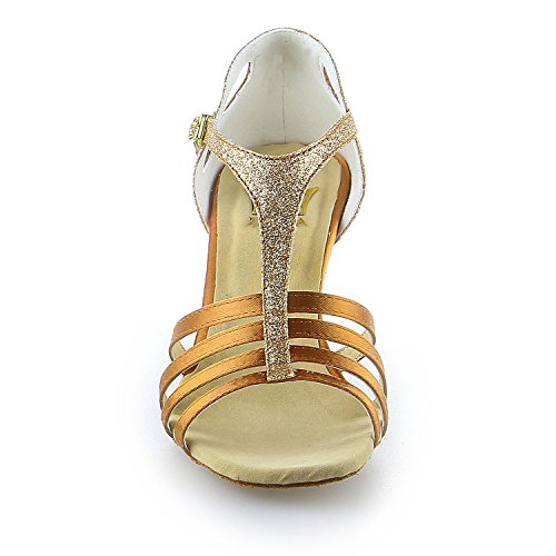 Super Heel JIA Glitter Flared Color Women's Shoes with Dance Sparkling 2 Satin 7'' Sandals Latin JIA 2053 Tan z8qzw