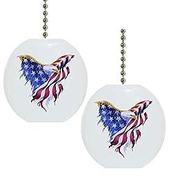 Set of 2 Eagle Flag Patriotic CERAMIC Fan Pulls