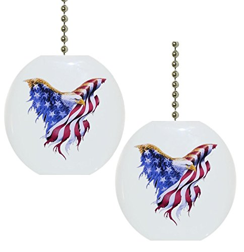 Set of 2 Eagle Flag Patriotic CERAMIC Fan Pulls by Carolina Hardware and Decor