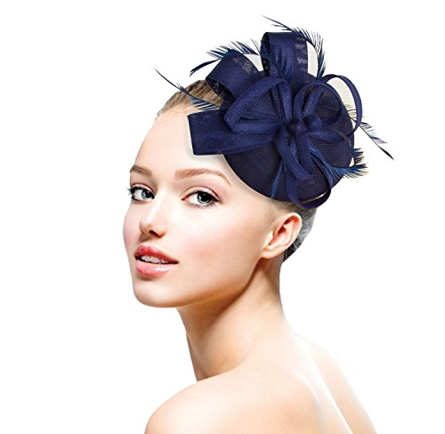 Acecharming Fascinators for Women, Feather Sinamay Fascinators with Headbands Tea Party Pillbox Hat Flower Derby Hats(Navy Blue-02)