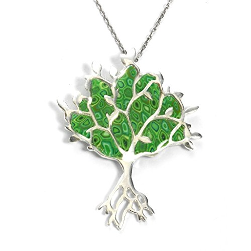 925 Sterling Silver Tree of Life Necklace Pendant Green Polymer Clay Handmade Jewelry, 16.5
