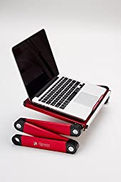 Portable Adjustable Aluminum Laptop Desk/Stand/Table Vented Notebook-Macbook-Ultra Light Weight Ergonomic TV Bed Large Lap Tray Stand Up/Sitting-Red