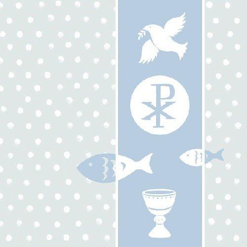 sh Symbol Blue 3-ply Tissue 13'x13' Lunch Luncheon Communion Confirmation Christening ()