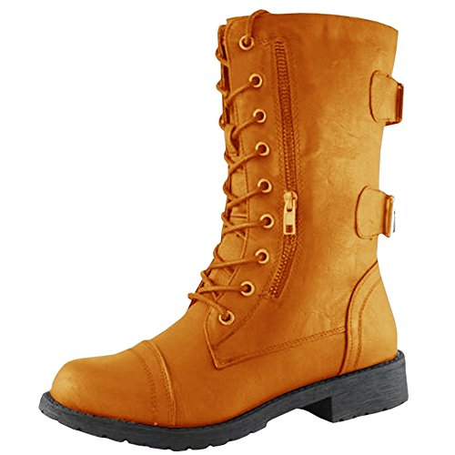 Brown Military up Card Pocket Combat Buckle Women's Credit Boot Lace Newbestyle Ankle 6PHwnBqxZ