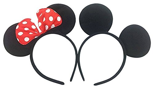 Perfec Mickey Mouse Ears Solid Black and Bow Minnie Headband For Boys and Girls Birthday Party Mom Baby Hairs Accessories Girl Headwear Party Decoration Baby Shower Halloween Set Of 2