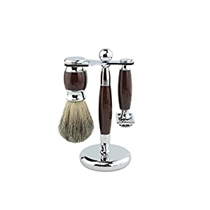 Youngster Age Luxury Shaving Set Including Double Edge Razor, Shaving Soap, Stainless Steel Bowl with Mirror , Badger Hair Brush,10 Replacement Blades