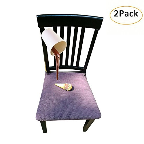 Waterproof Dining Chair Cover Protector - Pack of 2 - Perfect For Pets, Kids, Elderly, Wedding, Party - Machine Washable, Elastic, Removable, Premium Quality, Clean the Mess Easily (Eggplant) (Dining Round Antique Tables Sale For)