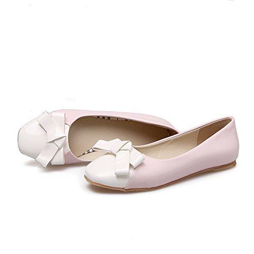 AllhqFashion Damen Lackleder Ohne Absatz Quadratisch Zehe Gemischte Farbe Ziehen auf Pumps Schuhe Pink