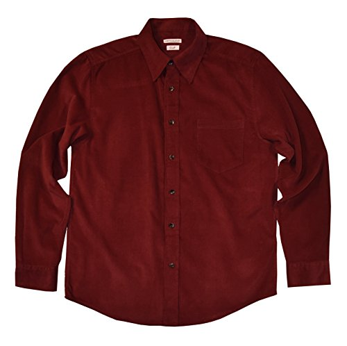 Himosyber Men's Button Down Corduroy Shirt (Red, Medium) ()